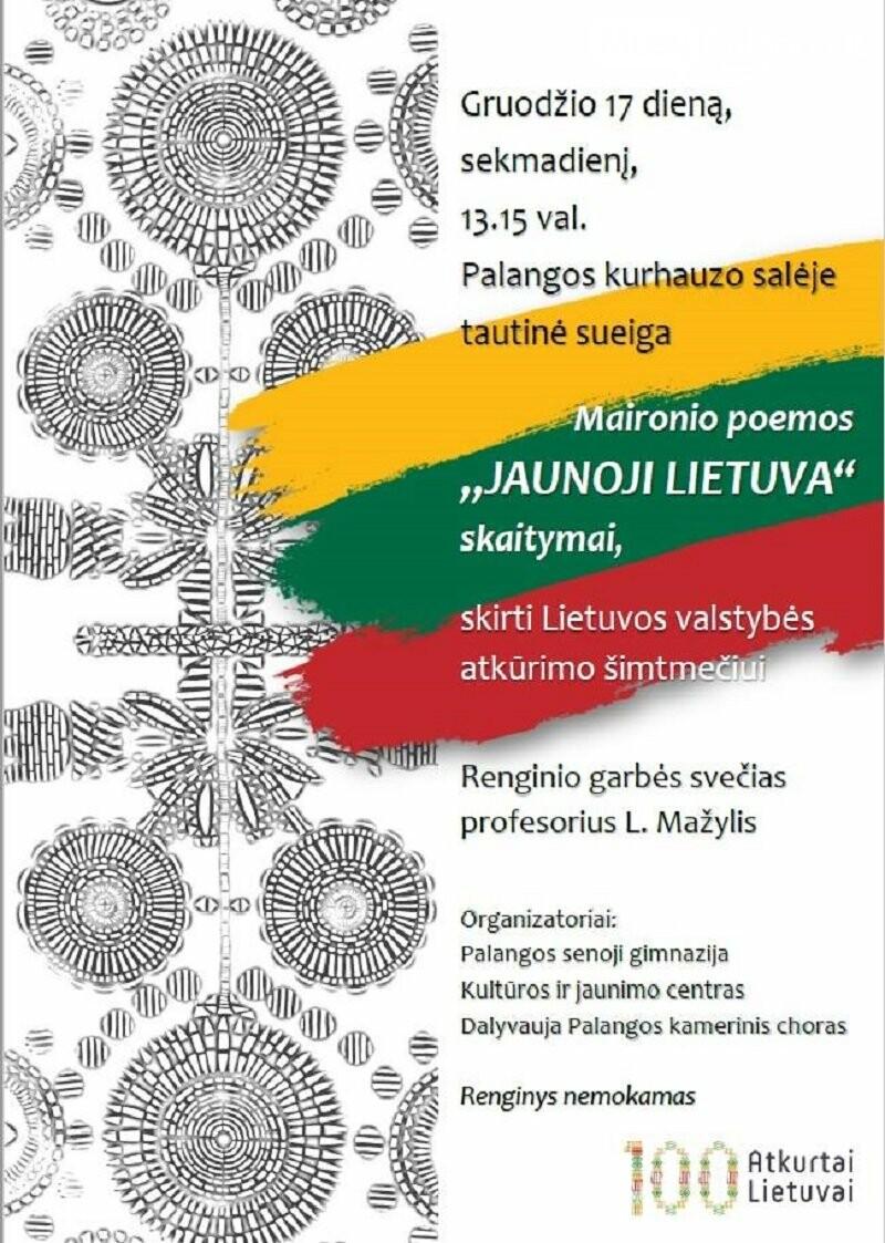 """Gruodžio 17 d. Kurhauze – Maironio poemos """"Jaunoji Lietuva"""" skaitymai, nuotrauka-1"""
