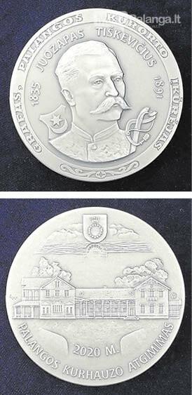 Palangos kurhauzo atkūrimui skirtame medalyje įamžintas grafas Juozapas Tiškevičius (aversas ir reversas).