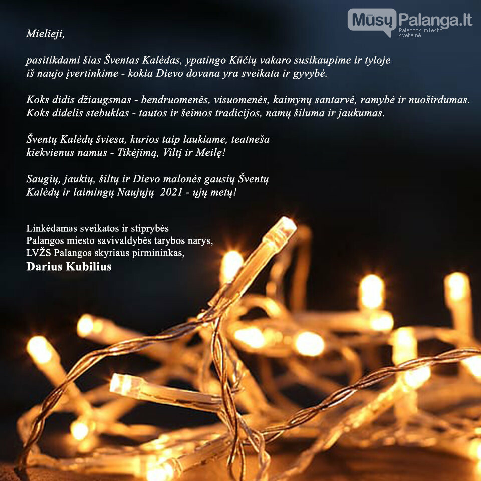 Palangos miesto savivaldybės tarybos nario Dariaus Kubiliaus sveikinimas šv. Kalėdų ir Naujųjų metų proga, nuotrauka-1