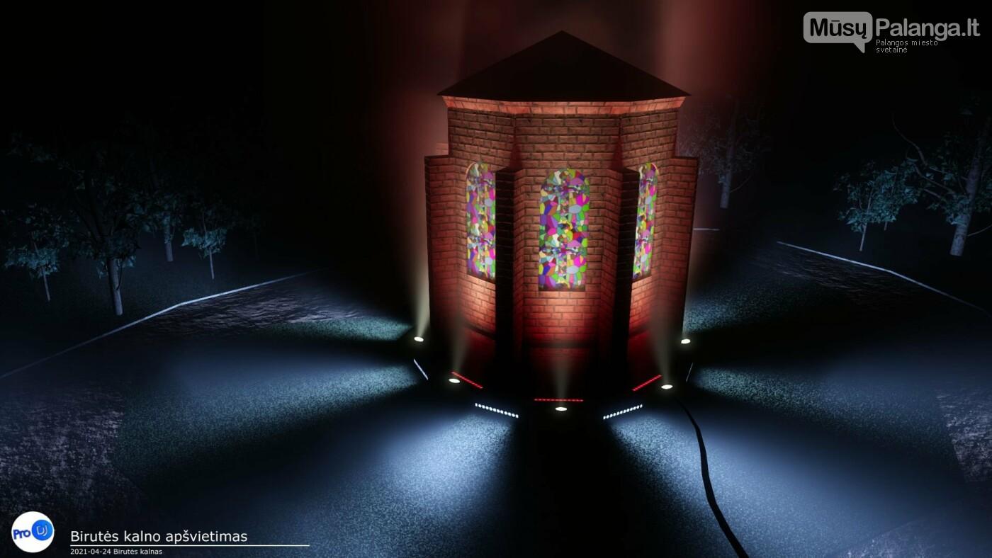 Birutės kalno pagerbimas šviesos instaliacijomis (vizualizacija)
