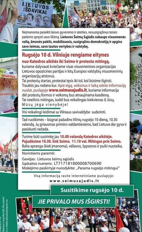 Kvietimas į protesto mitingą rugsėjo 10d., nuotrauka-1