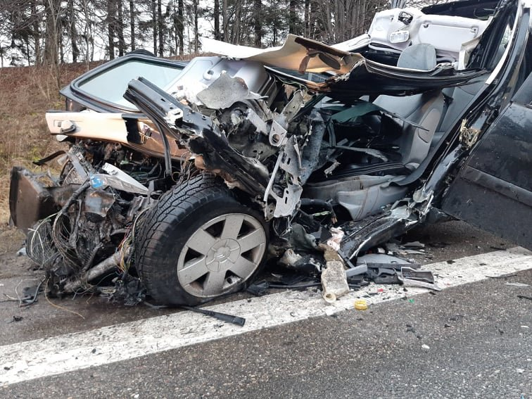 Auto įvykis ant viaduko kelyje Kretinga – Palanga. Slidu būkite atsargus!, nuotrauka-2, Ritos Nagienės nuotr.