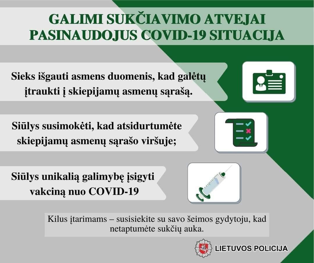 Policija perspėja apie galimus sukčiavimo atvejus prisidengus Covid - 19 situacija, nuotrauka-1